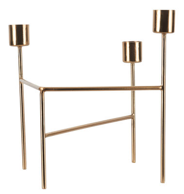 Decoration - Candles & Candle Holders - Three Candelabra - 3 candles by House Doctor - Brushed brass - Iron stained