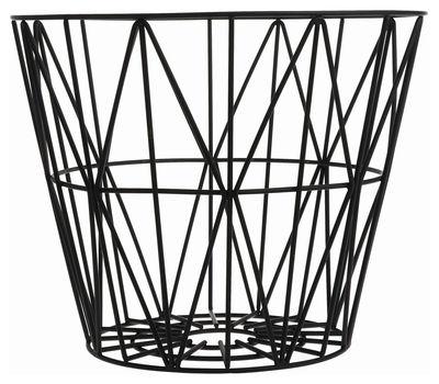 Interni - Bagno  - Cesto Wire Medium - Ø 50 x H 40 cm di Ferm Living - Nero - Fil de fer laqué