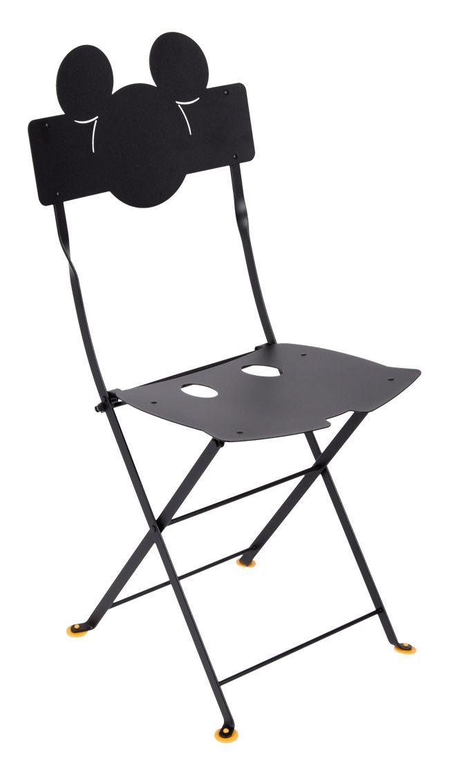 Mobilier - Chaises, fauteuils de salle à manger - Chaise pliante Bistro Mickey / Métal - Fermob - Réglisse - Acier laqué