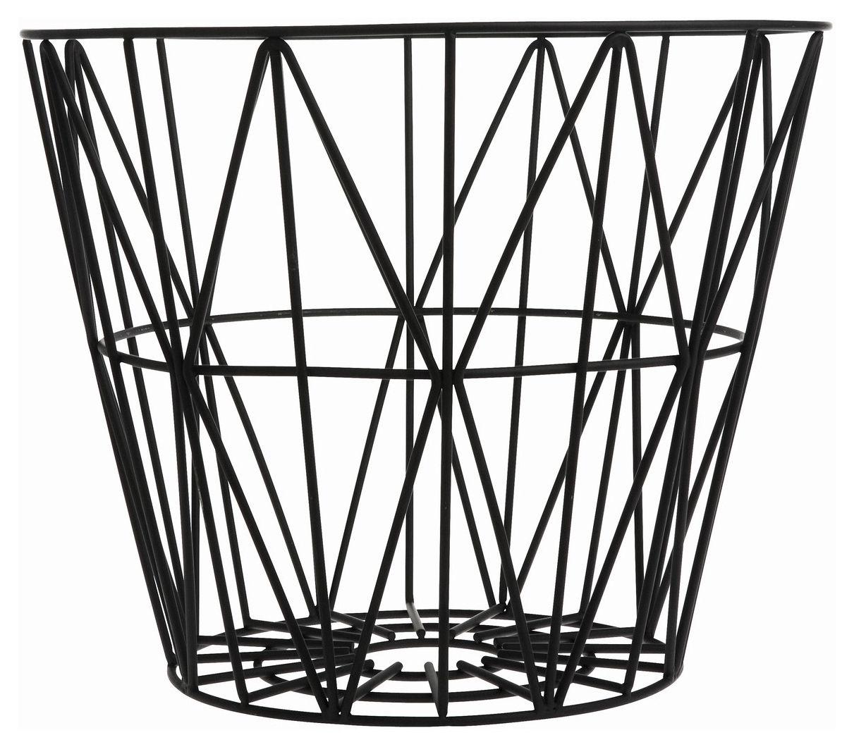 Déco - Salle de bains - Corbeille Wire Medium / Ø 50 x H 40 cm - Ferm Living - Noir - Fil de fer laqué