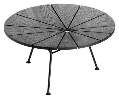 Möbel - Couchtische - Bam Bam Couchtisch Ø 70 cm - OK Design pour Sentou Edition - Schwarz - lackierter Stahl, MDF plaqué frêne teinté
