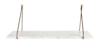 Mobilier - Etagères & bibliothèques - Etagère Marble / Marbre & laiton - L 70 cm - House Doctor - Marbre blanc / Laiton - Fer plaqué laiton, Marbre