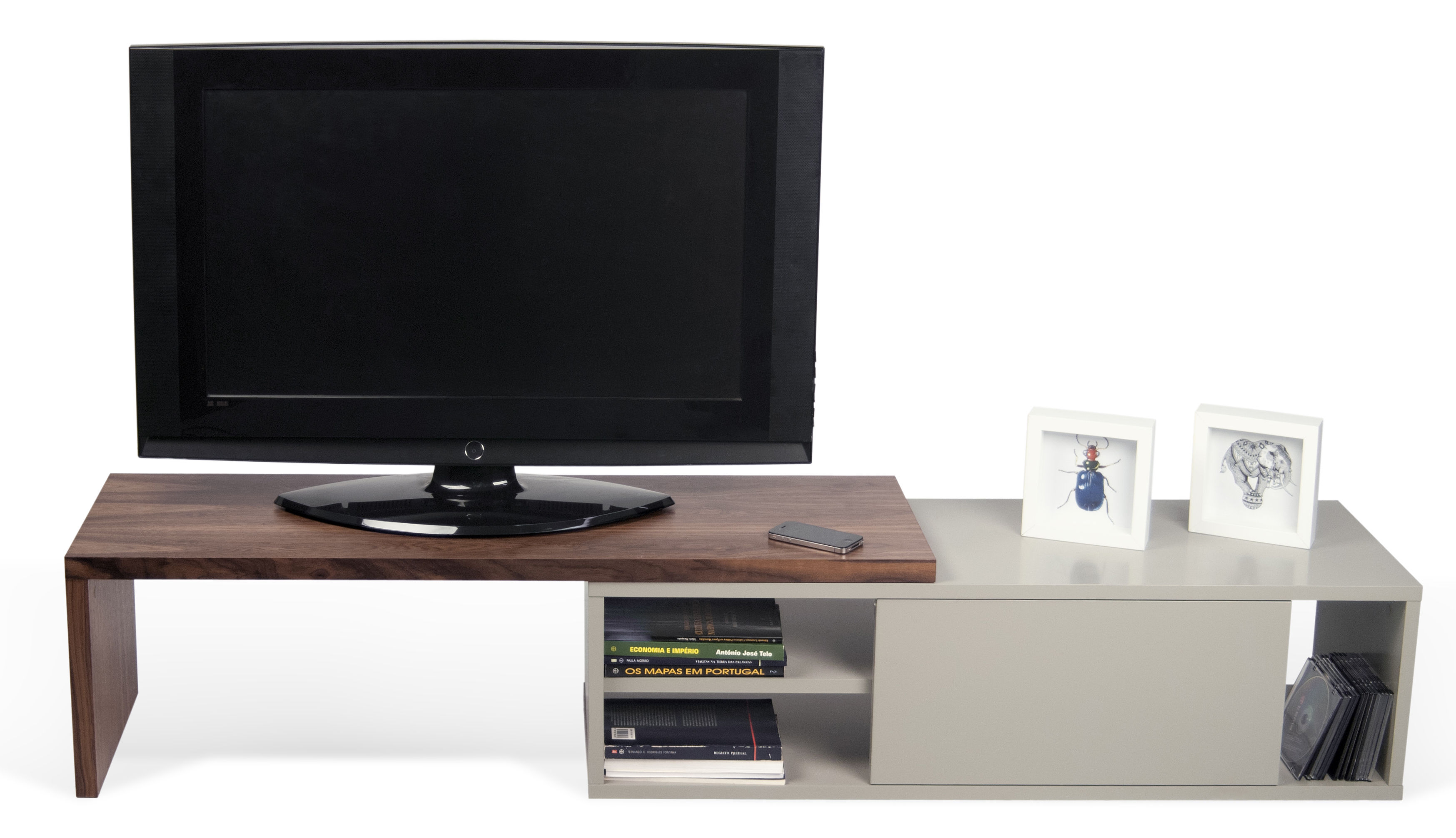 Extensible Tv Cabinet Slide By Pop Up Home Grey Natural
