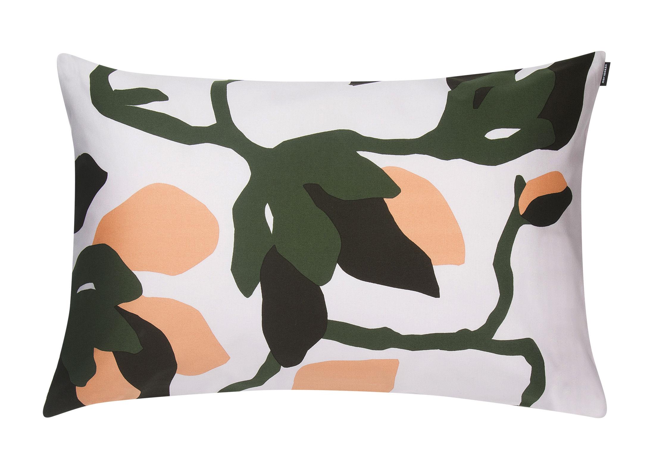 Interni - Tessili - Foodera cuscino Mielitty - / 60 x 40 cm di Marimekko - Mielitty / Bianco, verde & pesca - Cotone