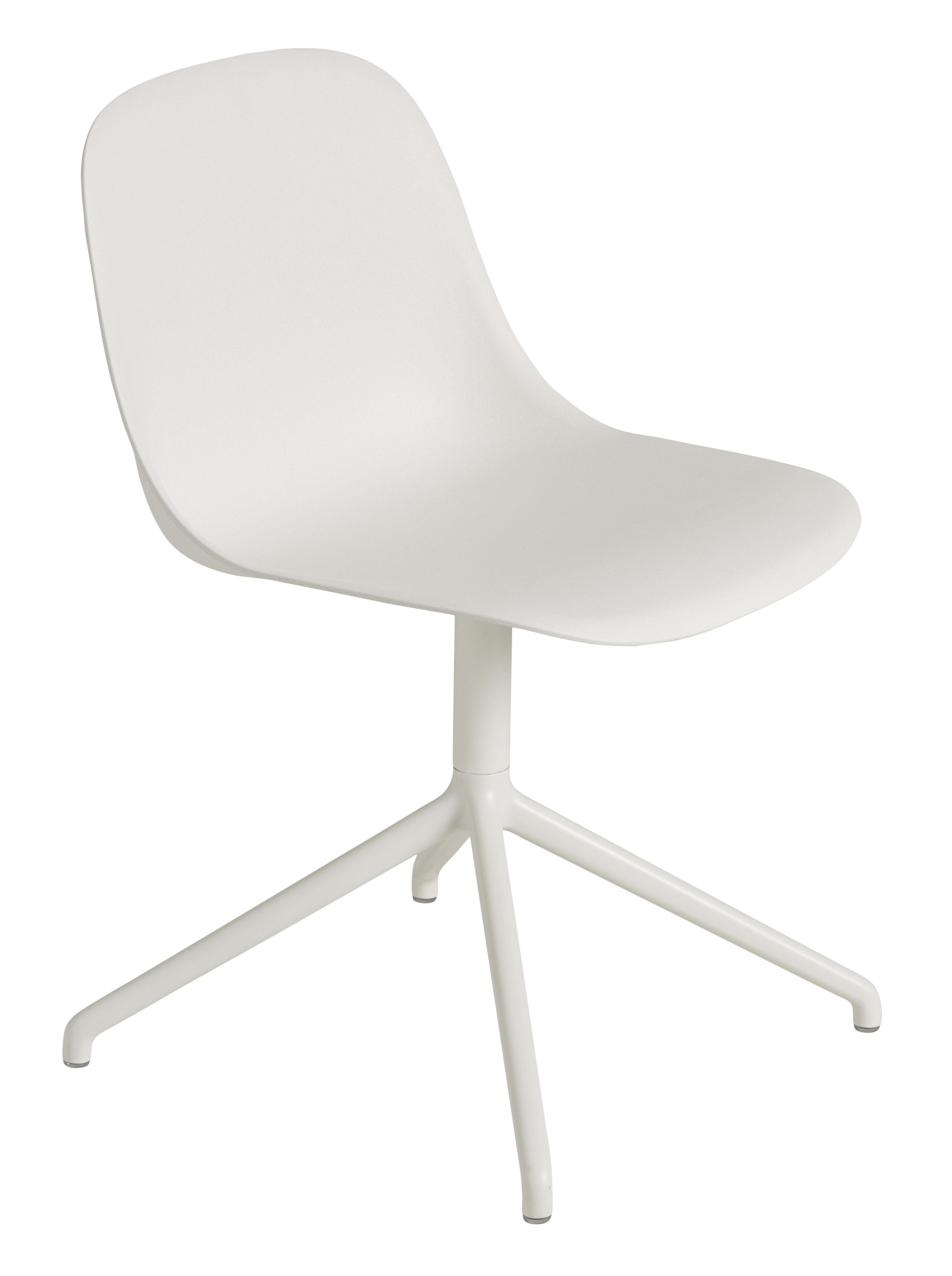 Arredamento - Sedie  - Sedia girevole Fiber - Muuto - Bianco / Gambe bianche - alluminio verniciato, Matériau composite recyclé