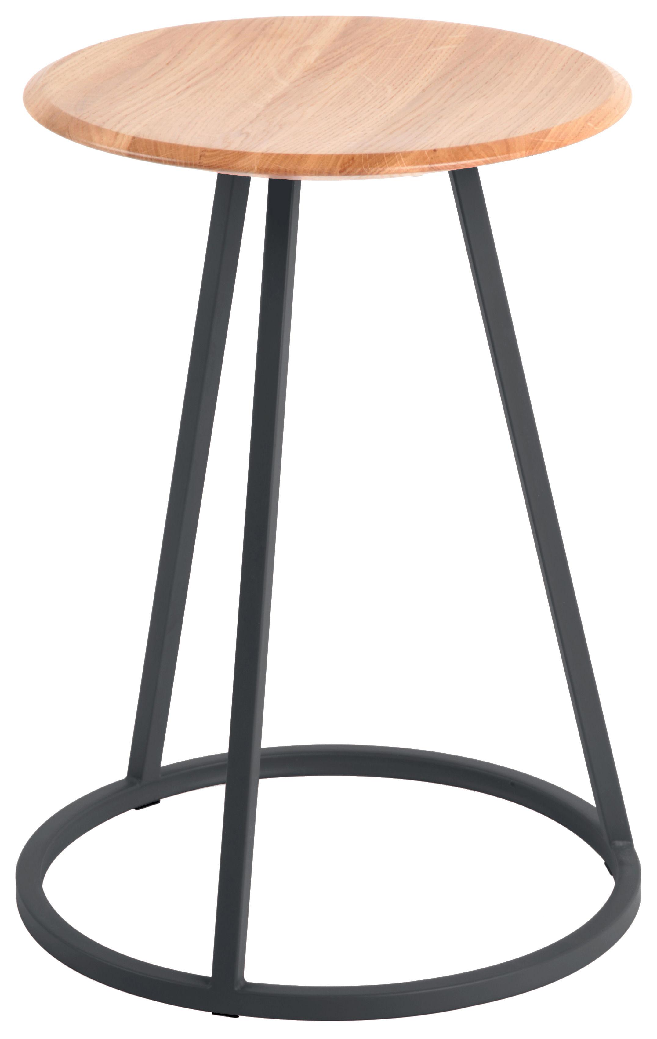 Möbel - Hocker - Gustave Hocker / H 45 cm - Hartô - Schiefergrau - lackierter Stahl, massive Eiche