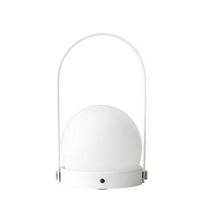 Illuminazione - Lampade da tavolo - Lampada senza fili Carrie LED - / Ricarica USB - Metallo & vetro di Menu - Bianco - Acier poudré, Vetro opalino