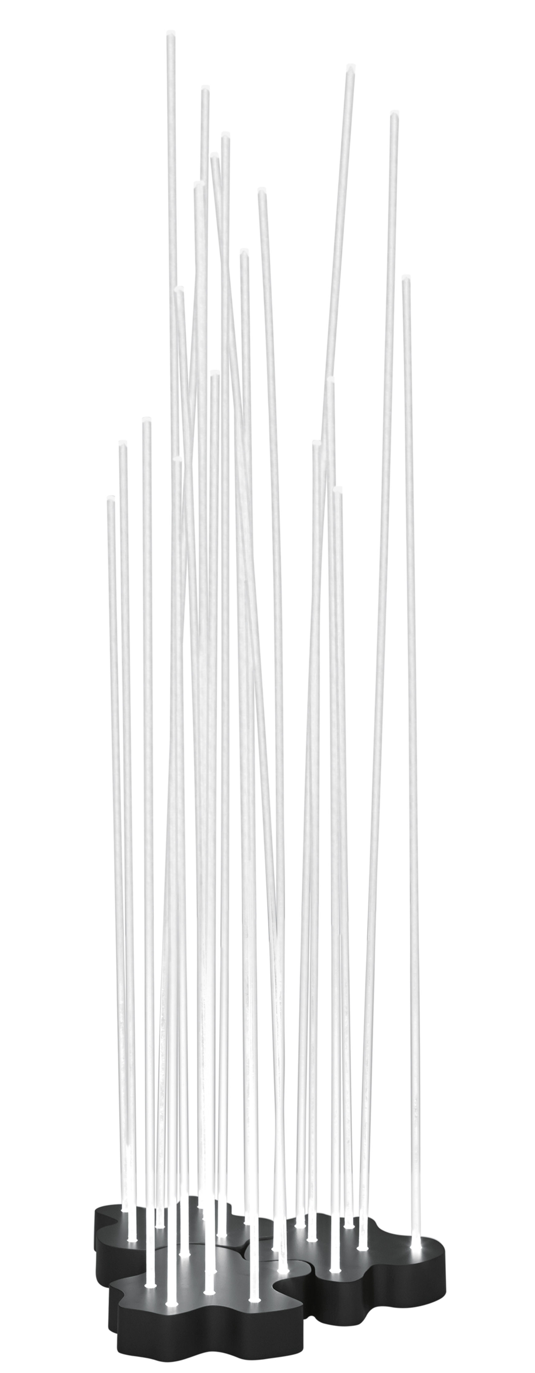 Luminaire - Lampadaires - Lampadaire Reeds LED Outdoor / 21 tiges - Artemide - Blanc / Base gris anthracite - Acier inoxydable peint, PMMA