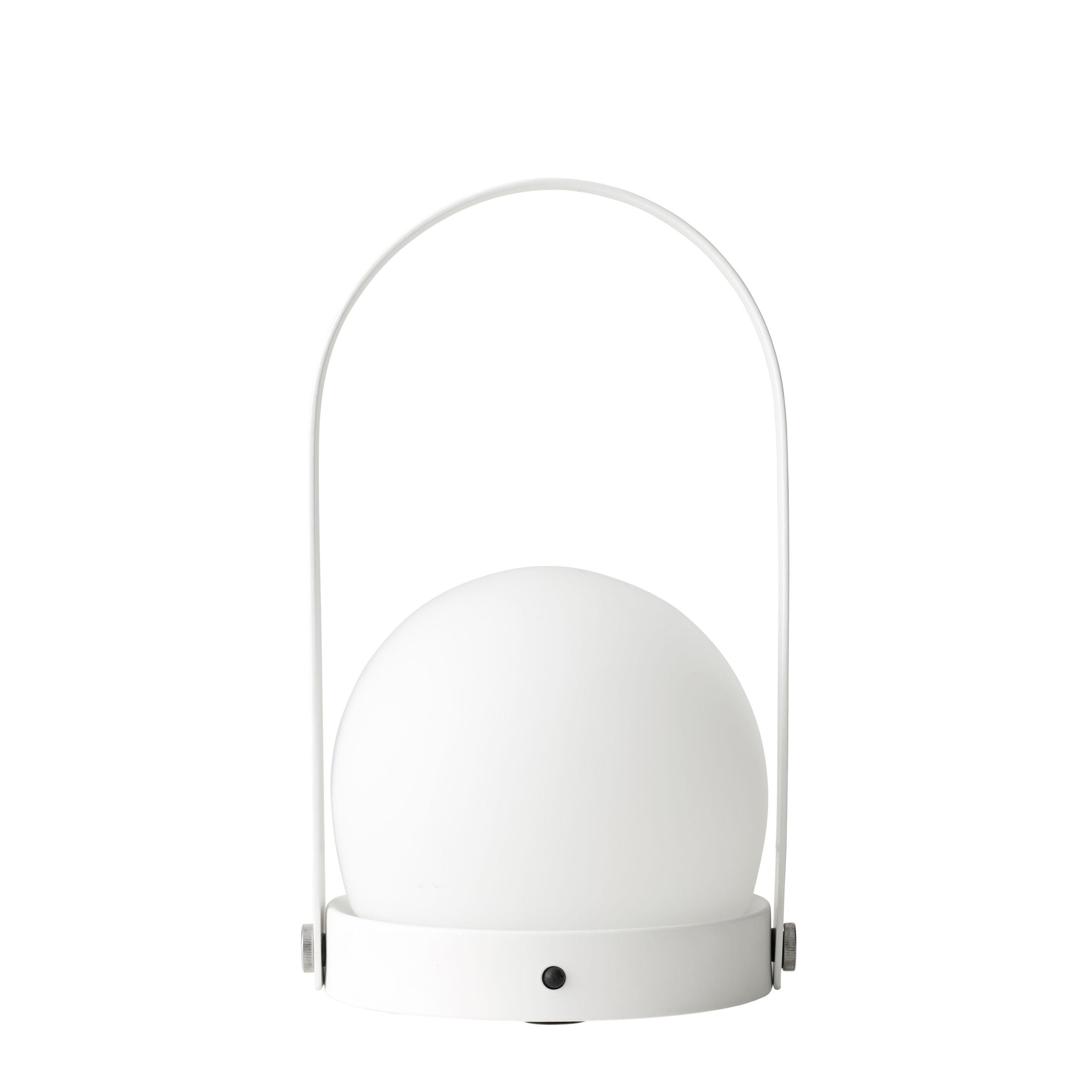 Leuchten - Tischleuchten - Carrie LED Lampe ohne Kabel / mit USB-Ladeport - Metall & Glas - Menu - Weiß - Opalglas, Pulverbeschichteter Stahl