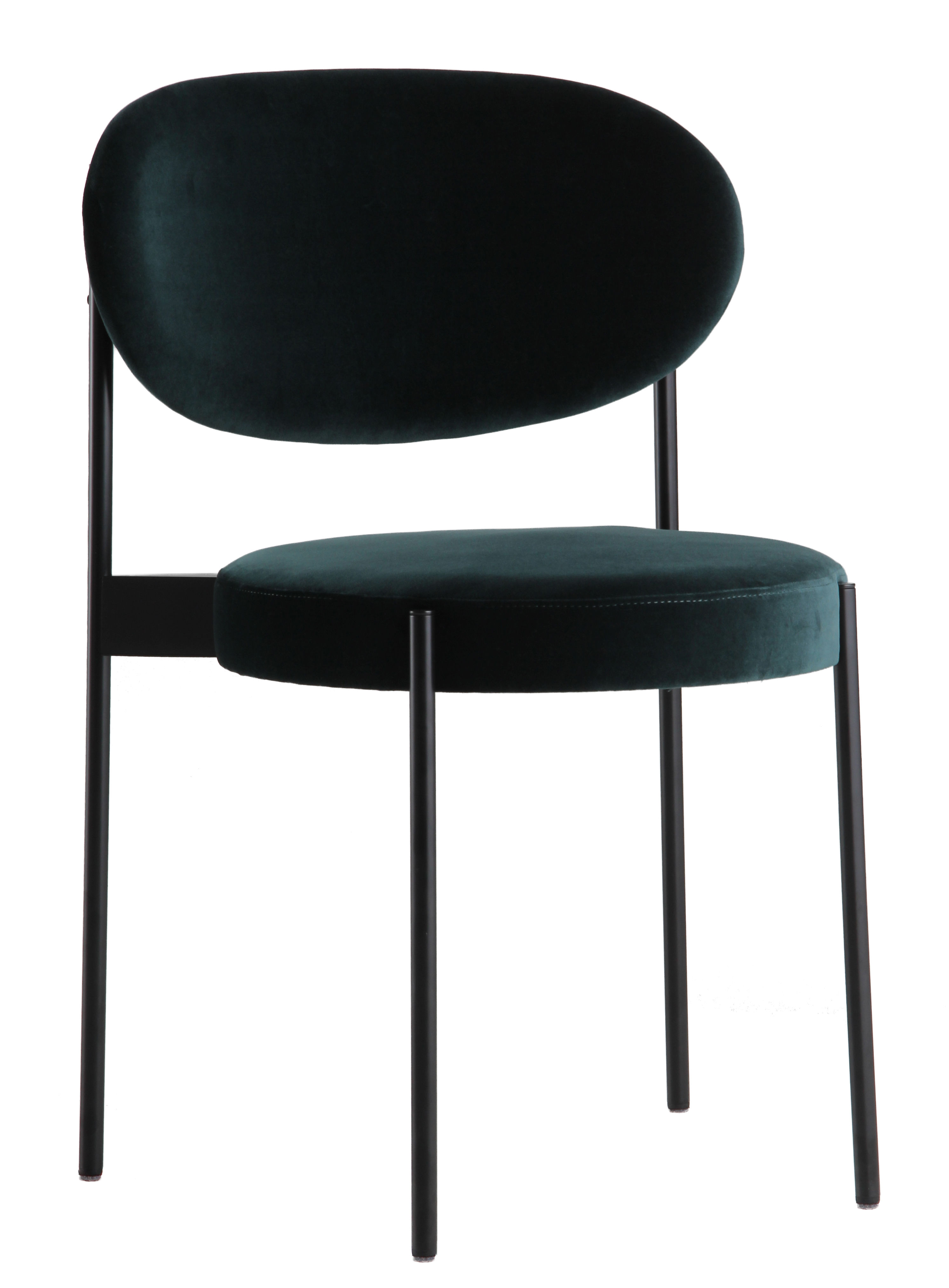Furniture - Chairs - Series 430 Padded chair - Stackable - Fabric & Metal by Verpan - Bottle green - Foam, Stainless steel, Velvet