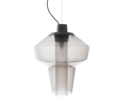 Lighting - Pendant Lighting - Metal glass 1 Pendant - Ø 28 x H 41 cm by Diesel with Foscarini - Grey - Blown glass, Varnished metal