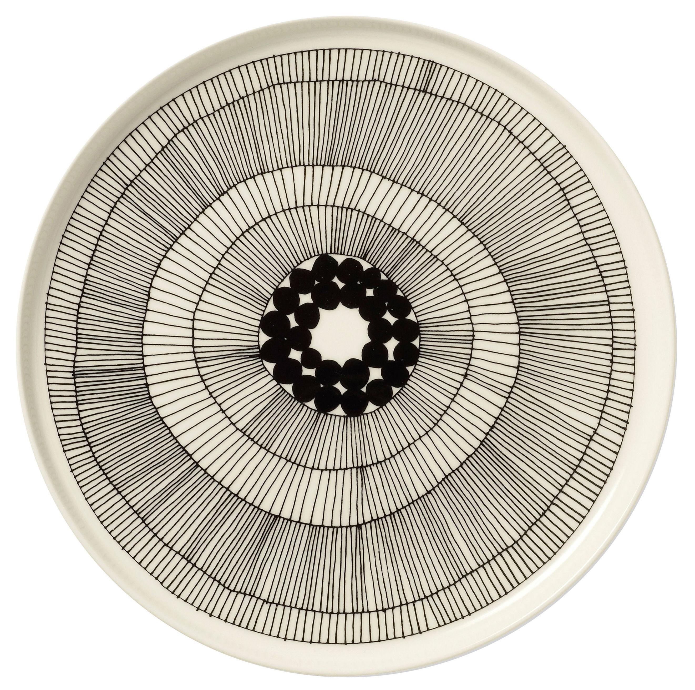 Tavola - Piatti  - Piatto Siirtolapuutarha - rotondo / Ø 25 cm di Marimekko - Siirtolapuutarha - bianco & nero - Ø 25 cm - Porcellana smaltata
