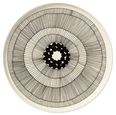 Tableware - Plates - Siirtolapuutarha Plate - Round Ø 25 cm by Marimekko - Siirtolapuutarha - White & black - Ø 25 cm - Enamelled china