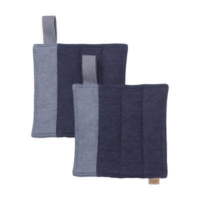 Kitchenware - Tea Towels & Aprons - Denim Potholder - / Set of 2 - Organic cotton by Ferm Living - Denim blue - Organic cotton, Recycled polyester