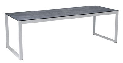 Outdoor - Gartentische - Perspective rechteckiger Tisch / 227 x 90 cm - Beton-Optik - Vlaemynck - Beton grau / weiß - HPL-Platte, Betonoptik, lackiertes Aluminium