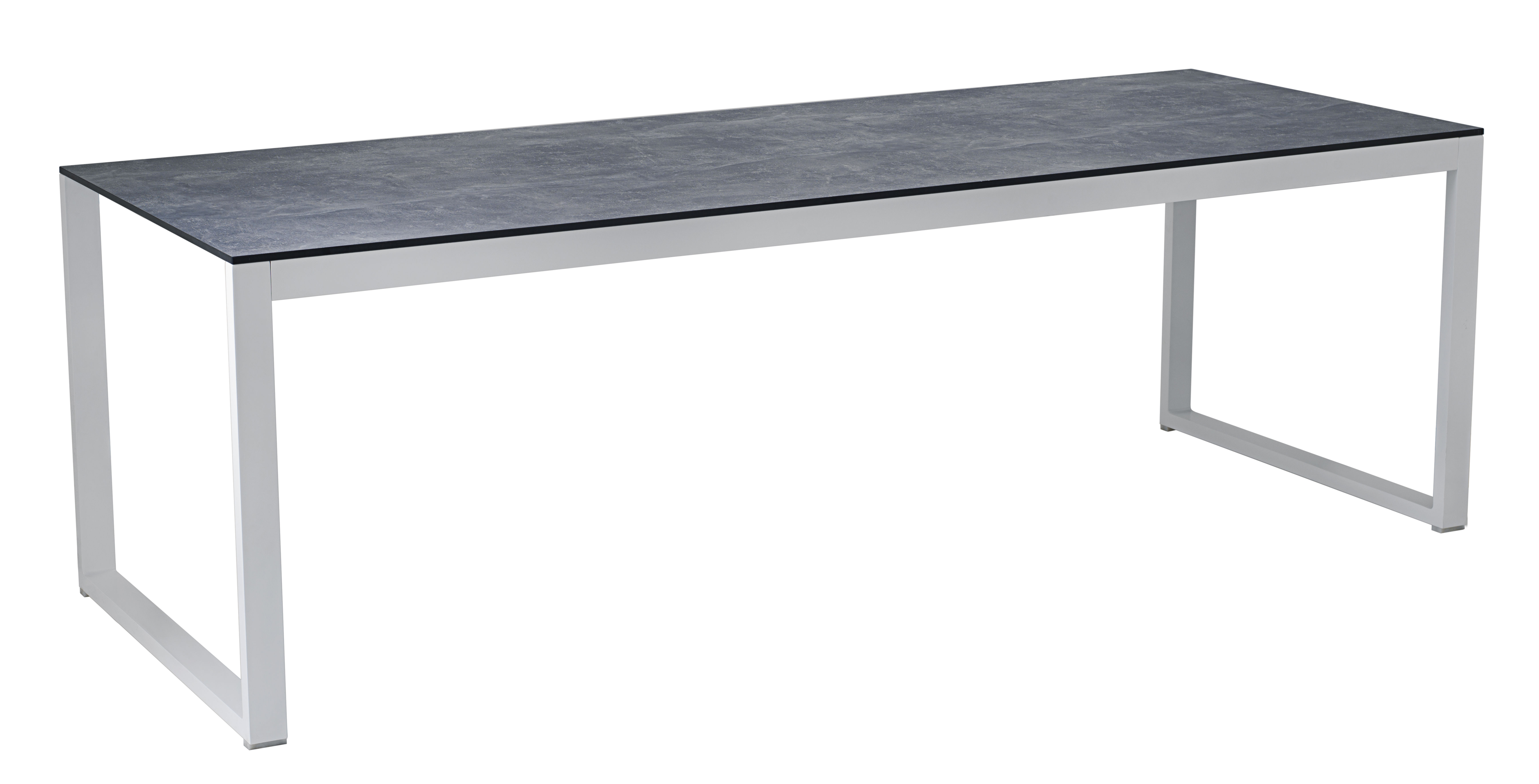 Outdoor - Garden Tables - Perspective Rectangular table - 227 x 90 cm / Concrete effect by Vlaemynck - Ciment grey / White - Concrete effect HPL, Lacquered aluminium