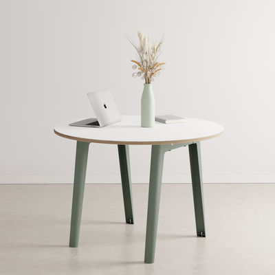 Furniture - Dining Tables - New Modern Round table - / Ø 110 cm - Laminate / 4 to 6 people by TIPTOE - Eucalyptus Grey - Powder coated steel, Stratified