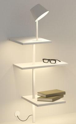 Arredamento - Scaffali e librerie - Scaffale luminoso Suite - / H 85 cm / Lampada & porta USB - Collegamento a parete di Vibia - H 85 cm / Bianco - metallo laccato, policarbonato
