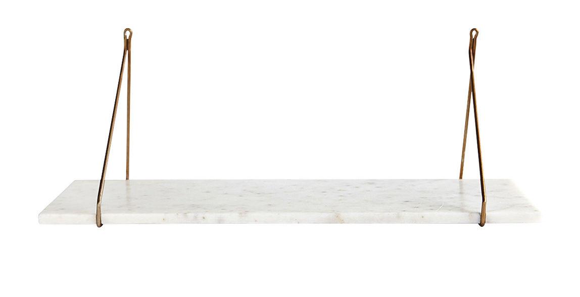 Arredamento - Scaffali e librerie - Mensola Marble / Marmo & ottone - L 70 cm - House Doctor - Marmo bianco / ottone - Fer plaqué laiton, Marmo