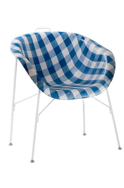 Möbel - Stühle  - Eu/phoria Made To Measure Sessel - Eumenes - Gestell weiß / Sitzschale mit blau-weißem Vichystoffbezug - gefirnister Stahl, Gewebe, Holz, Polypropylen