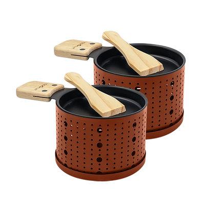 Cuisine - Ustensiles de cuisines - Set Lumi / Pour raclette à la bougie - 2 personnes - Cookut - Terracotta - Acier, Bois