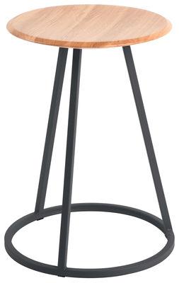 Arredamento - Sgabelli - Sgabello Gustave - / H 45 cm di Hartô - Grigio ardesia - Acciaio laccato, Rovere massello