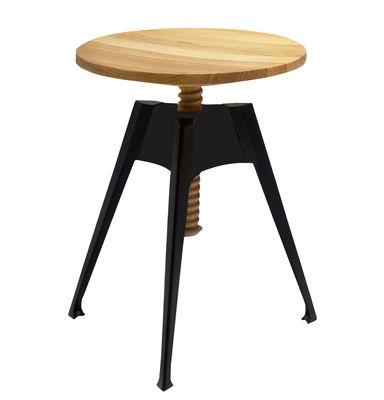 Arredamento - Sgabelli - Sgabello Portable Atelier / Moleskine - H 45 a 60 cm - Driade - Legno & nero - Acciaio laccato, Compensato di rovere