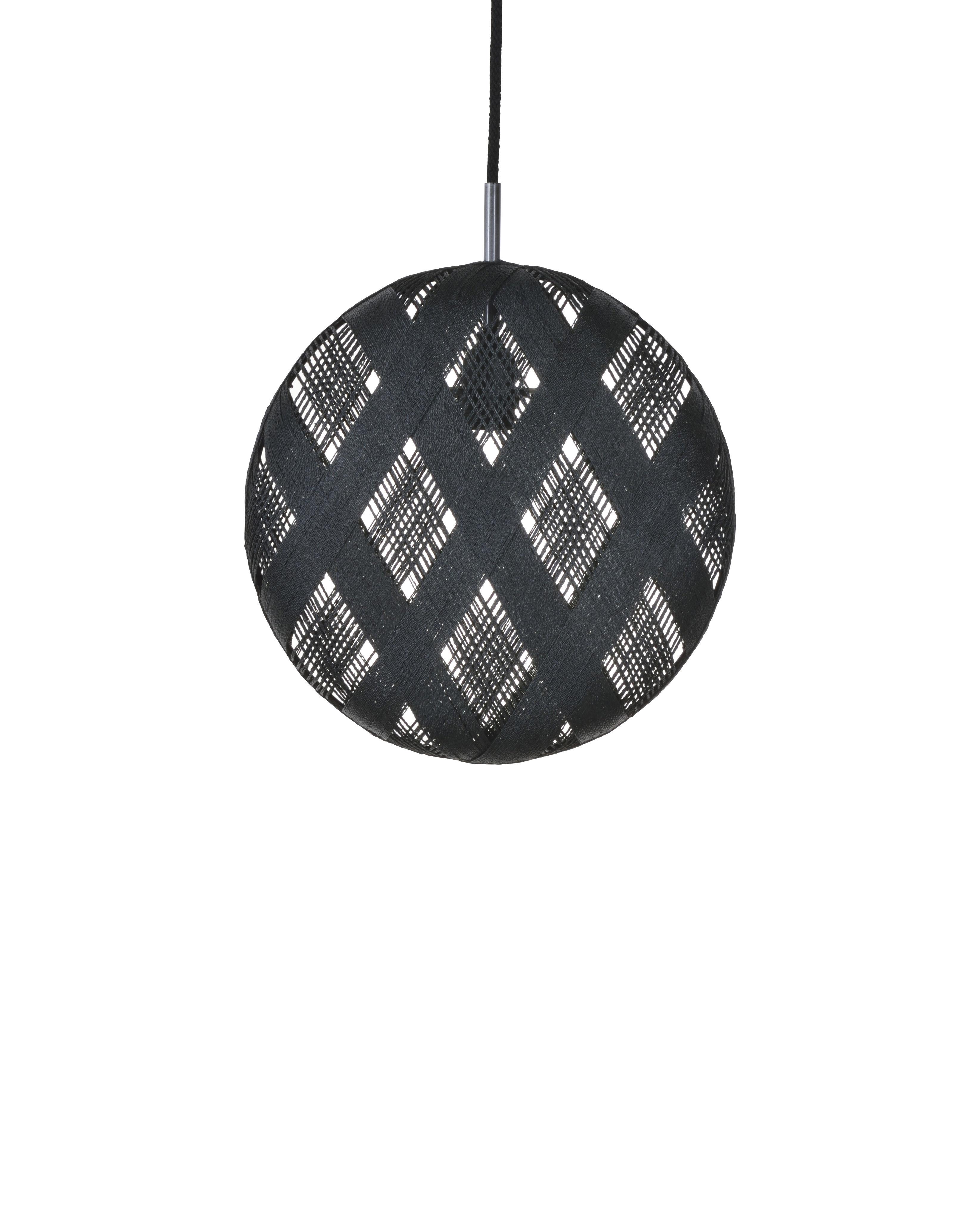 Illuminazione - Lampadari - Sospensione Chanpen Diamond - / Ø  26 cm di Forestier - Nero / Motivi losanghe - Tessuto in abaca
