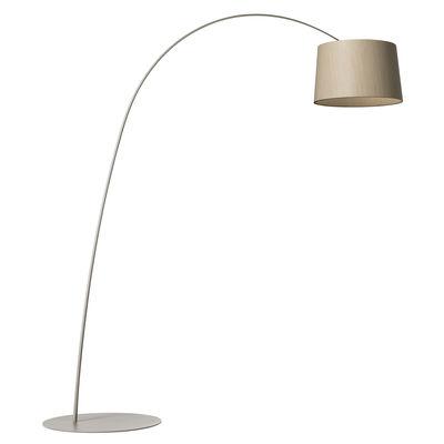 Leuchten - Stehleuchten - Twiggy Wood LED Stehleuchte / Blanchiertes Ahornholz - H 195 bis 215 cm - Foscarini - Greige / blanchiertes Ahornholz - Gebleichter Ahorn, Glasfaser, lackiertes Metall, Verbund-Werkstoffe