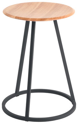 Furniture - Stools - Gustave Stool by Hartô - Dark grey - Lacquered steel, Solid oak