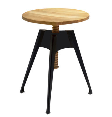 Furniture - Stools - Portable Atelier Stool - Moleskine by Driade - H 45 to 60 cm by Driade - Natural wood / Black - Lacquered steel, Oak plywood