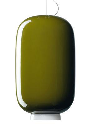 Luminaire - Suspensions - Suspension Chouchin n°2 / Ø 22 x H 43 cm - Foscarini - Vert / Bande blanche - Verre soufflé