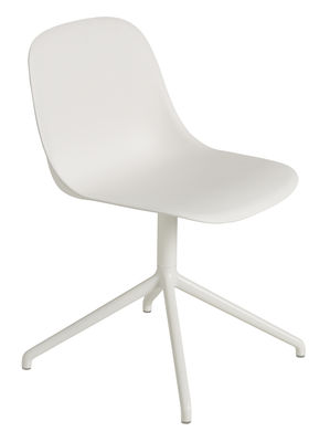 Furniture - Chairs - Fiber Swivel chair by Muuto - White / White leg - Painted aluminium, Recycled composite material