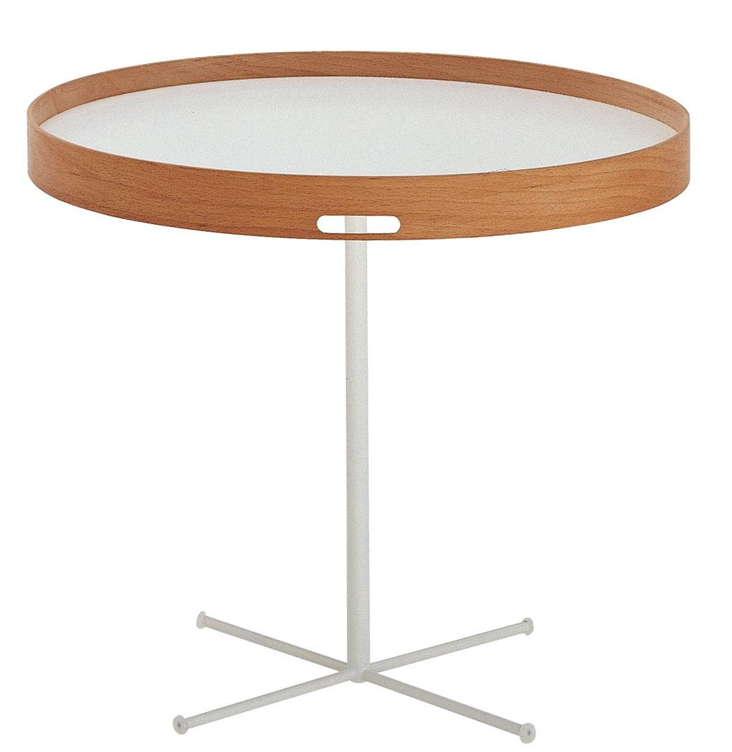 Mobilier - Tables basses - Table basse Chab multiposition / Plateau amovible - De Padova - Blanc / Hêtre - Acier laqué, Hêtre massif, Laminé