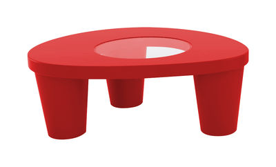 Table basse Low Lita - Slide rouge en verre
