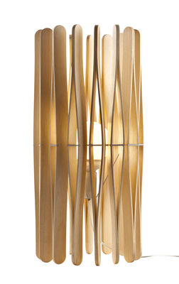 Lighting - Table Lamps - Stick Table lamp by Fabbian - Natural wood - Ayous wood, Varnished metal