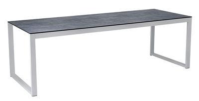 Table rectangulaire Perspective / 240 x 90 cm - Effet béton - Vlaemynck blanc,gris en métal