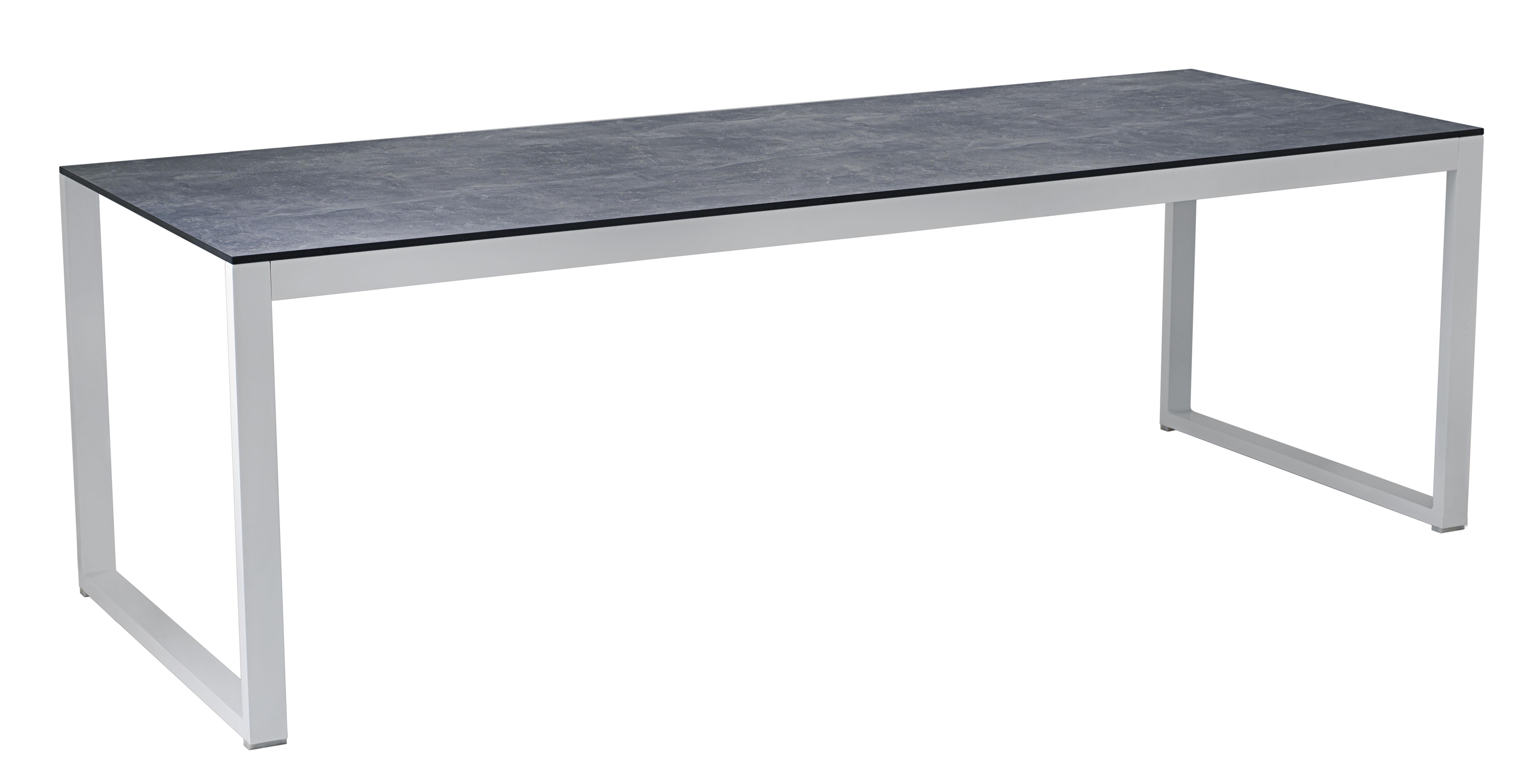 Table rectangulaire Perspective / 240 x 90 cm - Effet béton - Vlaemynck gris en métal/pierre