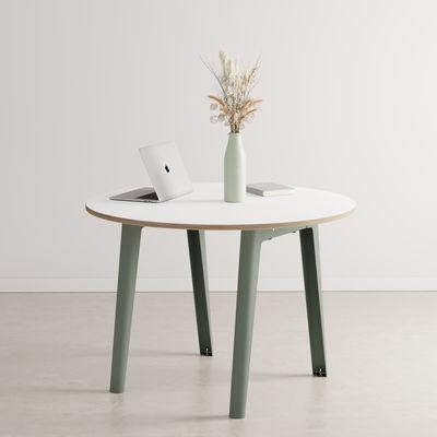 Mobilier - Tables - Table ronde New Modern / Ø 110 cm - Stratifié / 4 à 6 personnes - TIPTOE - Gris Eucalyptus - Acier thermolaqué, Stratifié