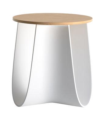 Mobilier - Tables basses - Tabouret Sag / Table H 43 cm - Assise bambou - MDF Italia - Blanc / Bambou - Contreplaqué de bambou, Polyuréthane