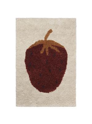 Arredamento - Mobili per bambini - Tappeto Fruiticana - Fraise - / Small - Tessuto a mano di Ferm Living - Fragola - Cotone, Lana