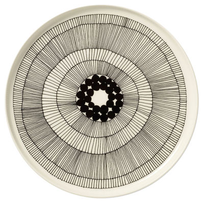 Tischkultur - Teller - Siirtolapuutarha Teller rund / Ø 25 cm - Marimekko - Siirtolapuutarha - Weiß & schwarz - Ø 25 cm - emailliertes Porzellan
