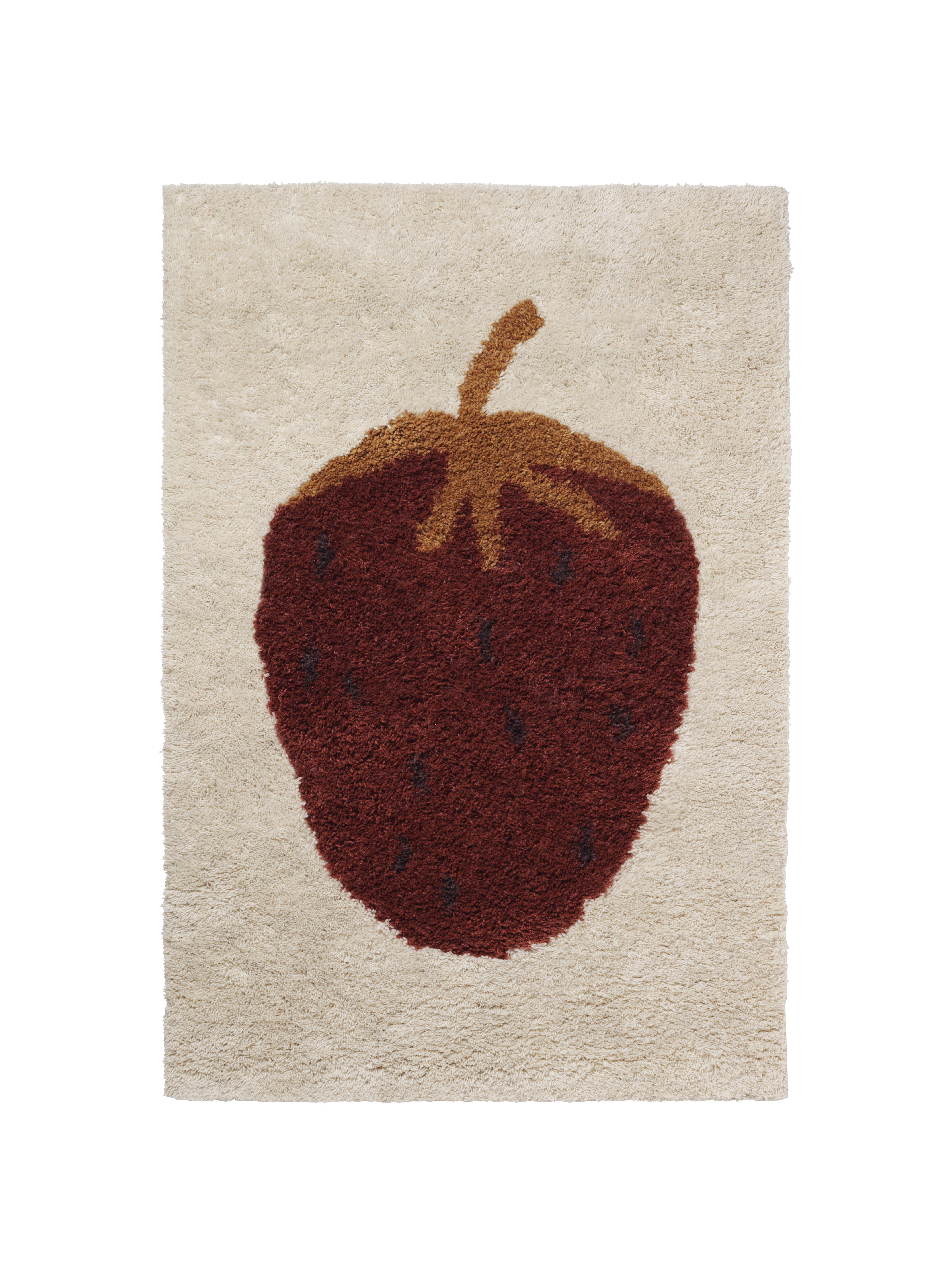 Möbel - Möbel für Kinder - Fruiticana - Fraise Teppich / klein - handgewebt - Ferm Living - Erdbeere - Baumwolle, Wolle