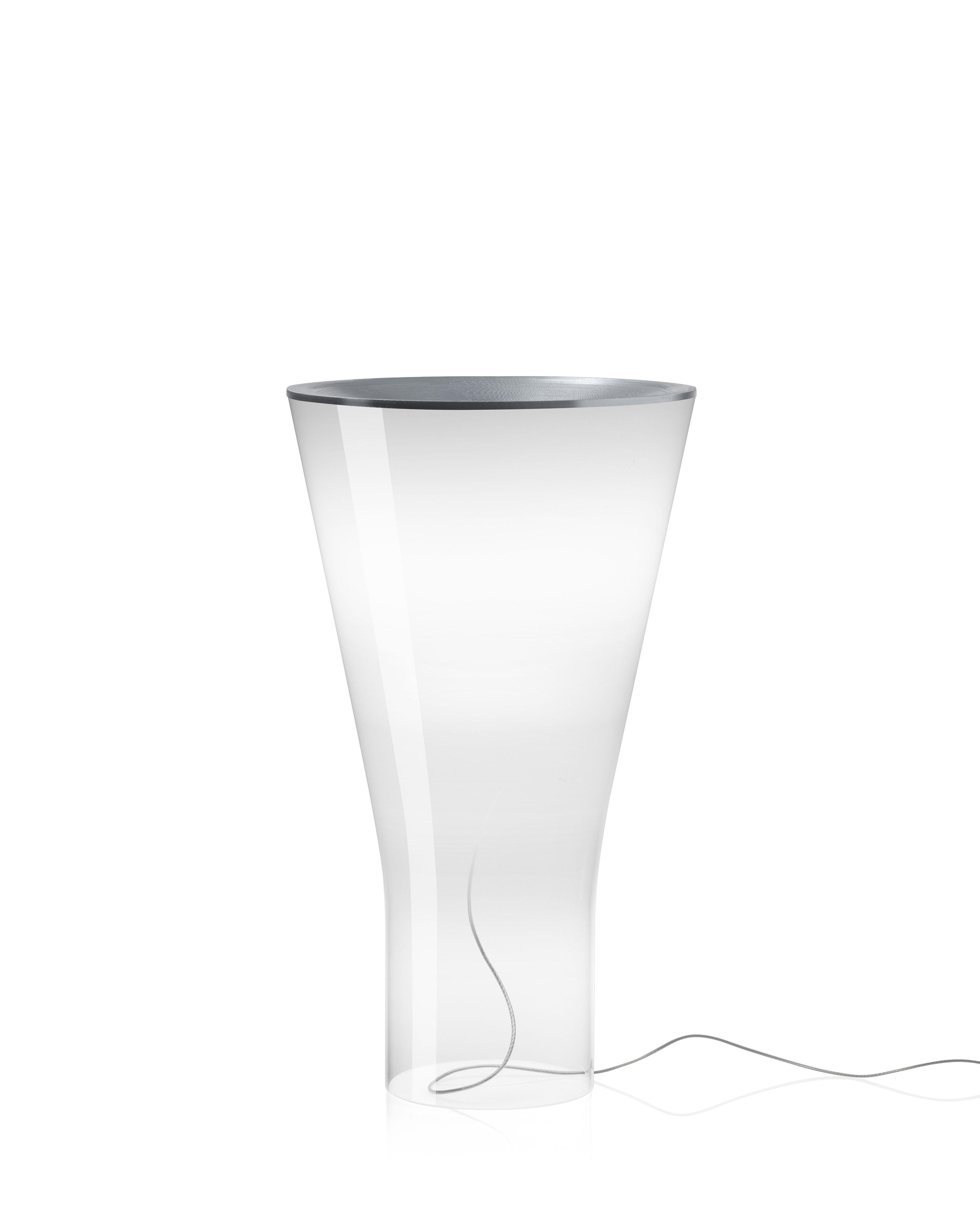 Leuchten - Tischleuchten - Soffio LED Tischleuchte / Glas - H 50 cm - Foscarini - Weiß / transparent - Aluminium, mundgeblasenes Glas
