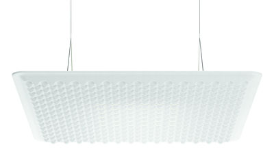 Lighting - Pendant Lighting - Eggboard LED Acoustic suspension - / Acoustic - 80 x 80 cm by Artemide - White - Elasticated fabric, PET