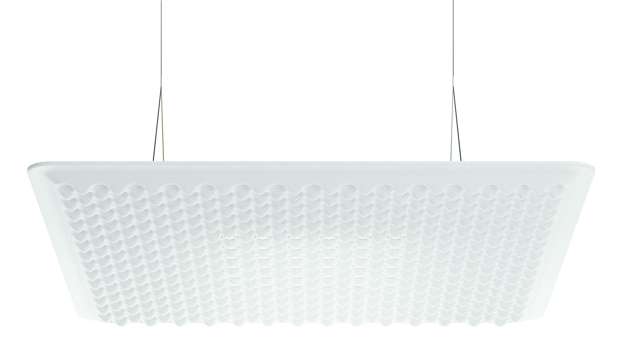 Lighting - Pendant Lighting - Eggboard LED Acoustic suspension - / Acoustic - 80 x 80 cm by Artemide - White - Elasticated fabric, PET