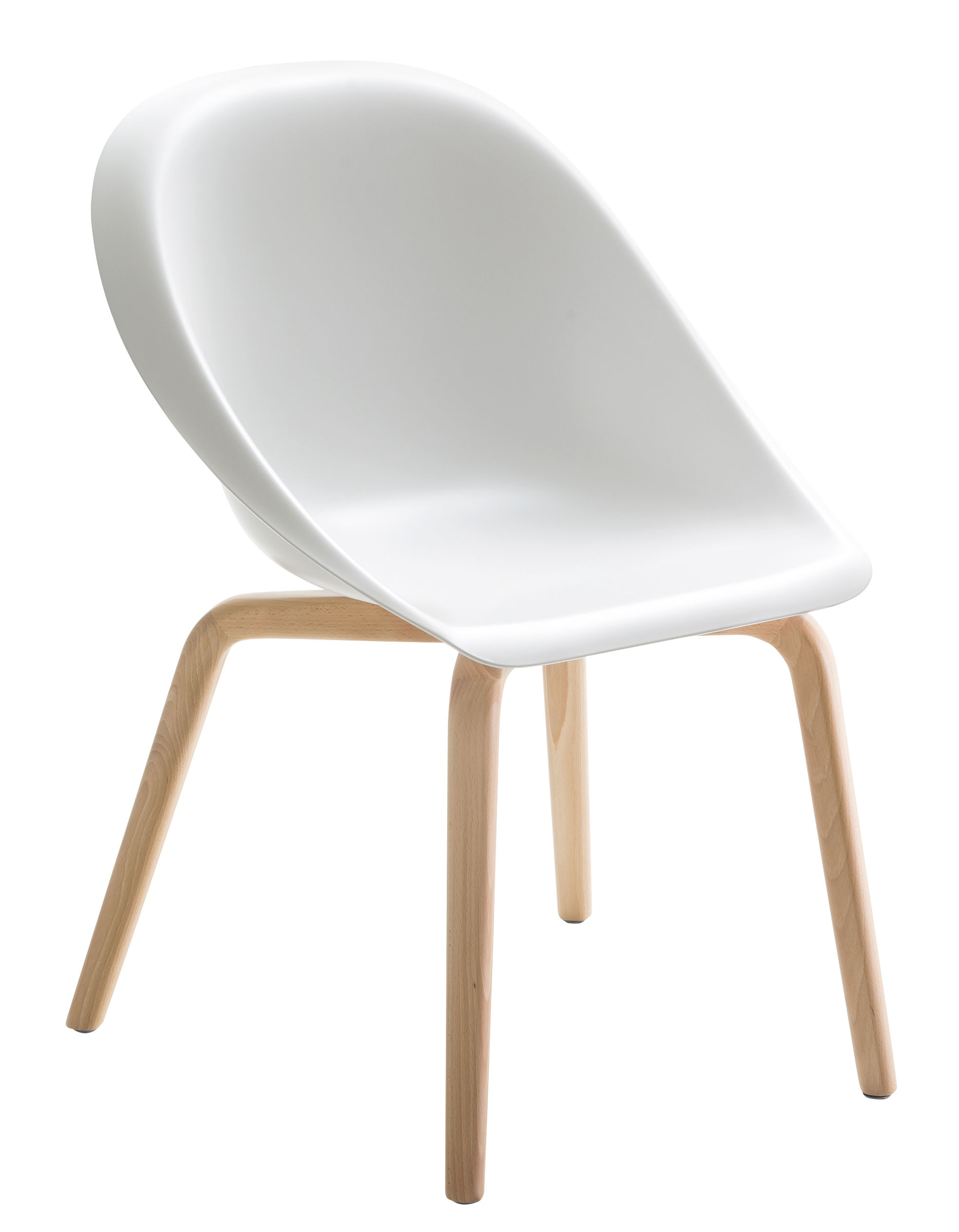 Furniture - Chairs - Hoop Armchair - Wood legs by B-LINE - White / Wood - Natural beechwood, Polyurethane