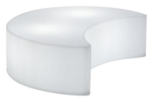 Arredamento - Pouf - Banco luminoso Moon Outdoor - panca- Per l'esterno di Slide - Bianco- Esterno/Interno - Polietilene riciclabile a stampaggio rotazionale