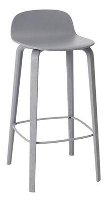 Furniture - Bar Stools - Visu Bar stool - Wood - H 65cm by Muuto - Grey - Varnished ashwood, Varnished steel
