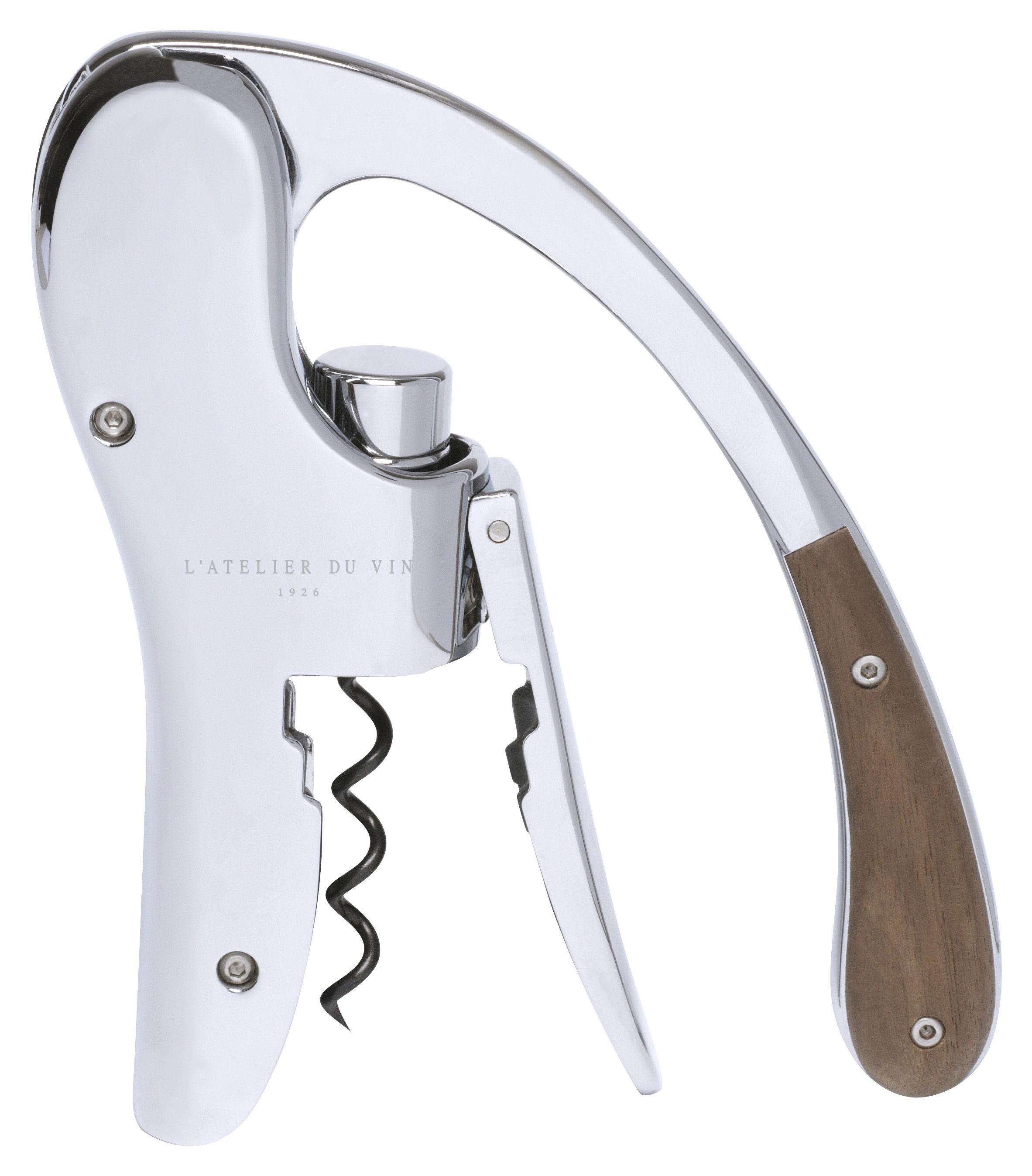 Tableware - Wine Accessories - Oeno Box Bottle opener - Winged lever corkscrew by L'Atelier du Vin - Chromium & wood - Metal, Solid walnut